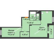 1 комнатная квартира 67,75 м² в ЖК Корица, дом № 1 - планировка