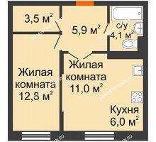 2 комнатная квартира 43,3 м² в ЖК Жюль Верн, дом № 1 корпус 2 - планировка