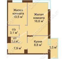 2 комнатная квартира 48,95 м² в ЖК НОВИНКИ Smart City, дом № 20
