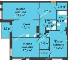 3 комнатная квартира 104,7 м² в Клубный дом Лобачевский, дом № 1 - планировка