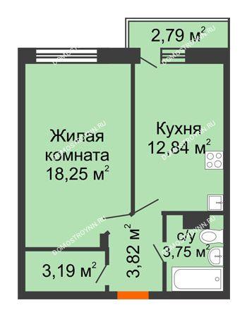 1 комнатная квартира 42,69 м² - ЖК Зеленый берег Life