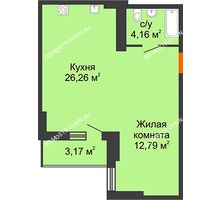 Студия 44,8 м², ЖК Орбита - планировка