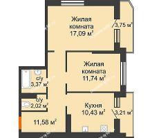 2 комнатная квартира 59,72 м² в ЖК Губернский, дом Литер 29 - планировка