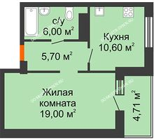 1 комнатная квартира 43,63 м² в ЖК Облака, дом № 2 - планировка