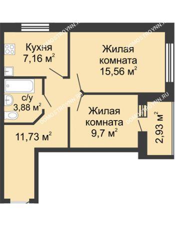 2 комнатная квартира 49,5 м² - ЖК Волжский-Берег