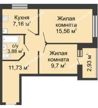 2 комнатная квартира 49,5 м², ЖК Волжский-Берег - планировка