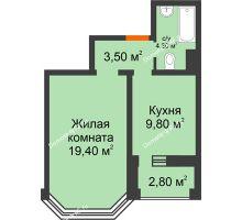 1 комнатная квартира 38,4 м², ЖК Приоритет - планировка