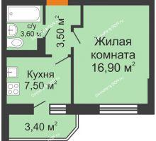 1 комнатная квартира 33,2 м² в ЖК Вересаево, дом Литер 13/2 - планировка