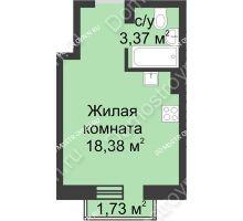 Студия 22,27 м² в ЖК Солнечный, дом д. 161 А/1 - планировка