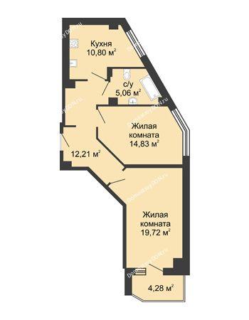 2 комнатная квартира 64,76 м² в ЖК Мега, дом № 1