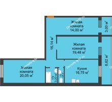 3 комнатная квартира 101,59 м², ЖК Дом на Троицкой - планировка
