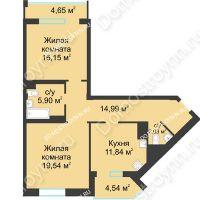 2 комнатная квартира 75,04 м² в ЖК Воскресенская слобода, дом №1 - планировка