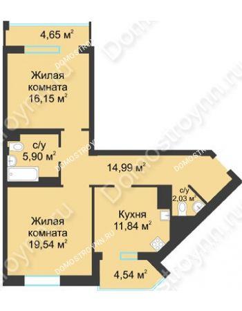 2 комнатная квартира 75,04 м² в ЖК Воскресенская слобода, дом №1