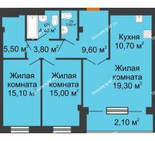 3 комнатная квартира 88,1 м², ЖК Art House - планировка