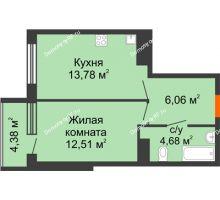 1 комнатная квартира 41,41 м², ЖК Горизонт - планировка