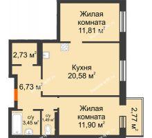 2 комнатная квартира 58,67 м² в OK Salut (Салют), дом ГП-6 - планировка