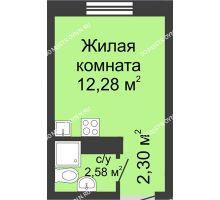 Студия 17,16 м² в ЖК Бурнаковский, дом № 39 - планировка