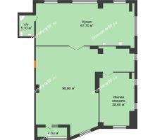 1 комнатная квартира 201 м², ЖК ROLE CLEF - планировка