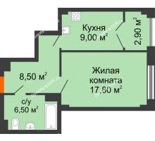 1 комнатная квартира 44,9 м², ЖК Гагарин - планировка