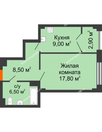1 комнатная квартира 44,9 м² - ЖК Гагарин