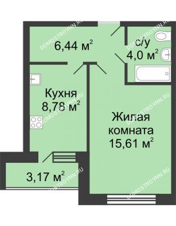 1 комнатная квартира 36,42 м² в ЖК Удачный, дом № 3