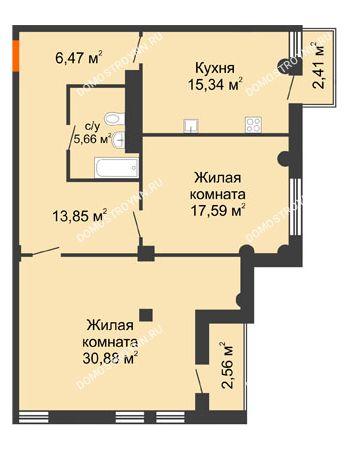 2 комнатная квартира 91,79 м² в ЖК Renaissance (Ренессанс), дом № 1