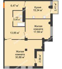 2 комнатная квартира 91,79 м² в ЖК Renaissance (Ренессанс), дом № 1 - планировка