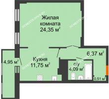 1 комнатная квартира 52,01 м² в ЖК Покровский, дом № 1 - планировка