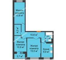 3 комнатная квартира 70,9 м² в ЖК Жюль Верн, дом № 1 корпус 2 - планировка