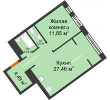 """1 комнатная квартира 49,16 м² в Микрорайон Звездный, дом ГП-1 (Дом """"Меркурий"""") - планировка"""