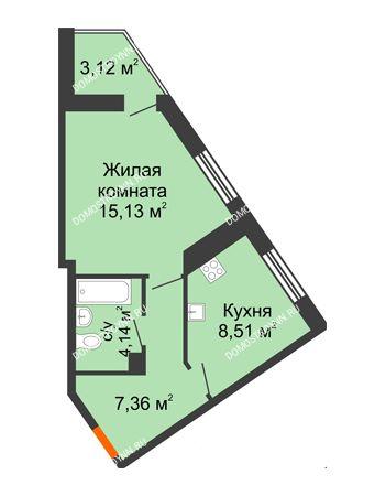 1 комнатная квартира 38,26 м² - ЖК Пушкин