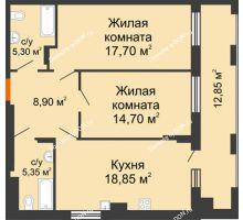 2 комнатная квартира 83,65 м² в ЖК Симфония, дом 3 этап - планировка