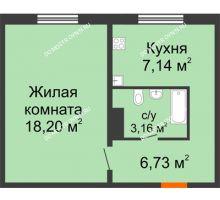 1 комнатная квартира 35,23 м² в ЖК Торпедо, дом № 19 - планировка