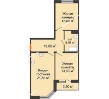 2 комнатная квартира 67 м² в ЖК Любимый дом, дом Литер 2 - планировка