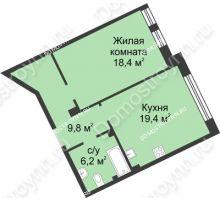 1 комнатная квартира 53,4 м² в ЖК Славянский квартал, дом № 188 - планировка