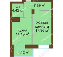 1 комнатная квартира 48,59 м² - ЖК Подкова Приокская