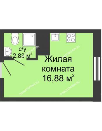 Студия 19,71 м² в ЖК Красная поляна, дом № 6