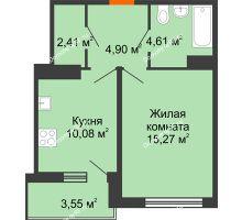 1 комнатная квартира 39,05 м² в ЖК Университетский парк, дом 2 очередь - планировка