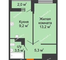1 комнатная квартира 32,2 м², ЖК Акварели-3 - планировка