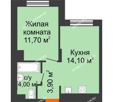 1 комнатная квартира 33,7 м² в ЖК КМ Анкудиновский парк, дом № 15 - планировка