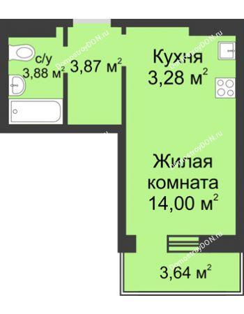 Студия 26,12 м² в ЖК Суворовский, дом Литер 24, Участок 120