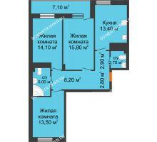 3 комнатная квартира 81,95 м² в ЖК Корица, дом № 1 - планировка