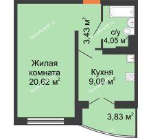 1 комнатная квартира 39 м² в ЖК Лазурный, дом 50 позиция (2-5 подъезд) - планировка