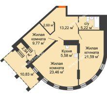 2 комнатная квартира 86,16 м² в ЖК Дом на Набережной, дом № 1 - планировка