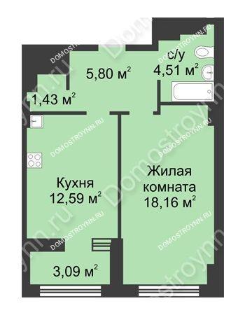 1 комнатная квартира 44,04 м² в ЖК Караваиха, дом № 5