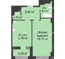 1 комнатная квартира 44,04 м² в ЖК Караваиха, дом № 5 - планировка