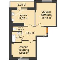 2 комнатная квартира 58,17 м² в Мкр Улитка, дом № 3Г,Д - планировка