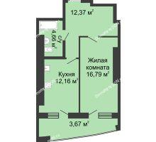 1 комнатная квартира 53,32 м² в ЖК Тихий Дон, дом № 3 - планировка