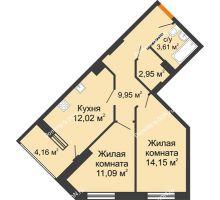 2 комнатная квартира 55,85 м² в ЖК Кристалл, дом Литер 1 - планировка
