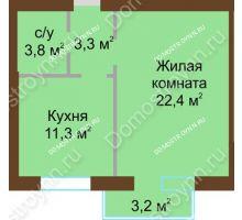 1 комнатная квартира 42,25 м² - Жилой дом: ул. Дворовая д. 30